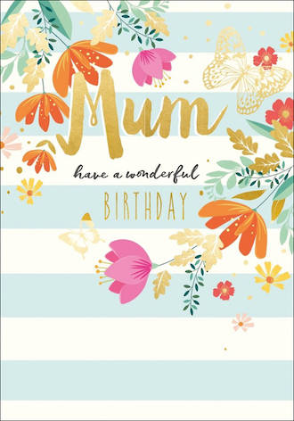 Mum Birthday Card Life & Soul Large Stripes