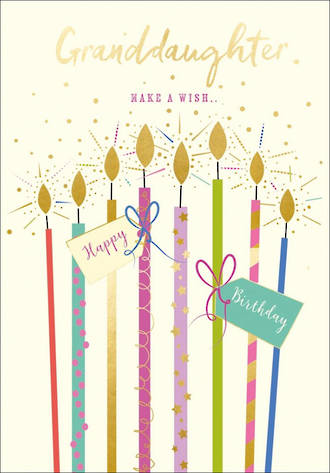 Grandaughter Birthday Card Life & Soul Large Candles