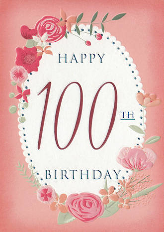 Birthday Age Card 100 Female Floral