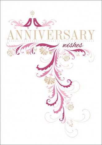 Anniversary Card Wishes Pink Emboss