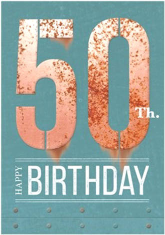 Birthday Age Card 50 Male Rust Iron