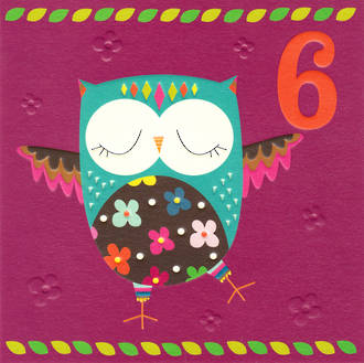 Birthday Age Card 6 Girl Piece of Cake Owl