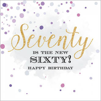 Birthday Age Card 70 Female Velvet Ink