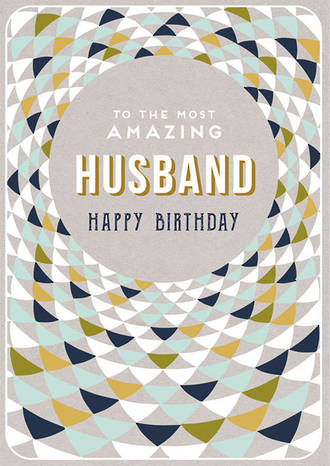 Husband Birthday Card Embossed Pattern