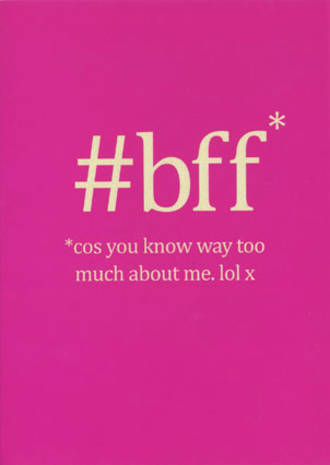 Special Friend Card Hashtag BFF