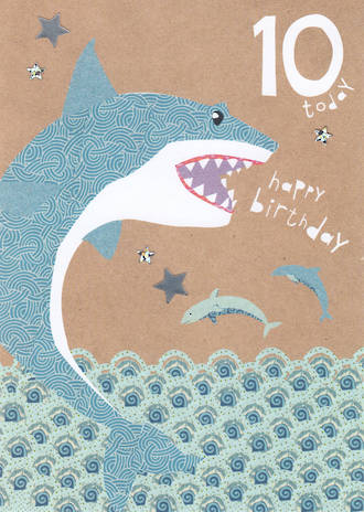 Age Card 10 Boy Hello Sunshine Shark
