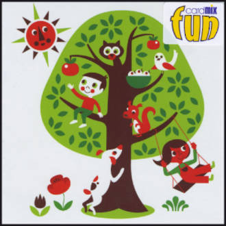 Blank Card: Fun - Boy And Animals In Tree