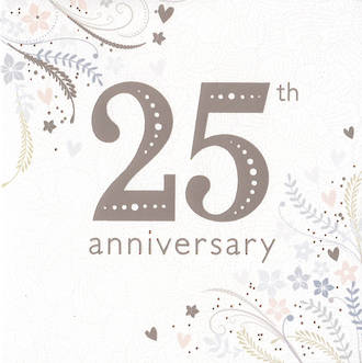 Anniversary Card 25th Silver Silver Floral