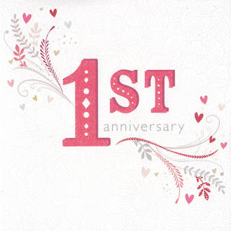 Anniversary Card 1st Floral