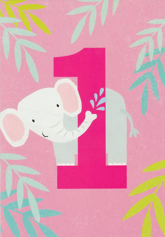 First Birthday Age Card 1 Girl Tiger Tail Elephant