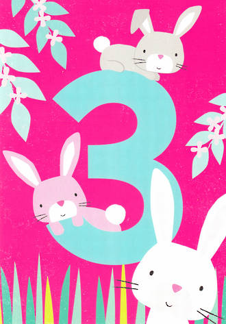 Birthday Age Card 3 Girl Tiger Tail Bunnies