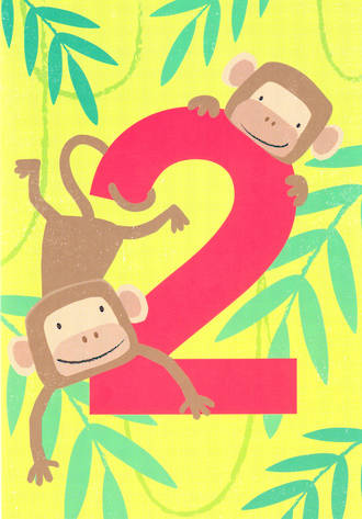 Birthday Age Card 2 Boy Tiger Tail Monkeys