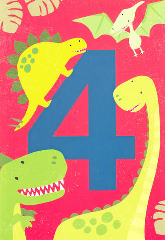 Age Card 4 Boy Birthday Tiger Tail Dinosaur