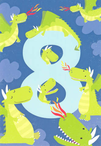 Birthday Age Card 8 Boy Tiger Tail Dragons