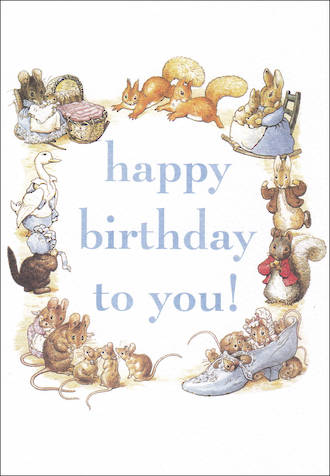 Beatrix Potter Birthday Text Blue