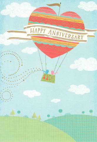 Anniversary Card Hallmark Heart Balloon