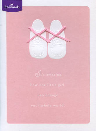 Baby Card Girl Booties With Ribbon