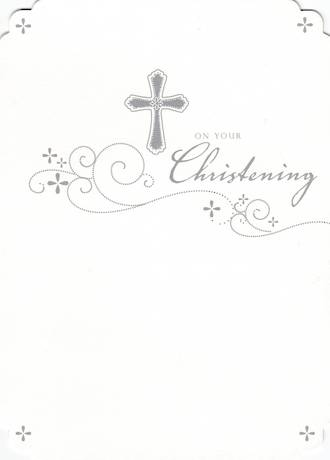 Baby Christening Card Cross And Swirls