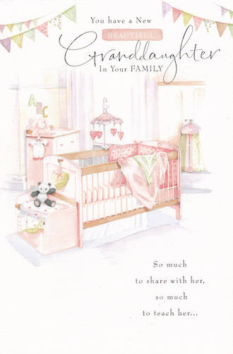 Baby Card Grandchild Granddaughter Cot