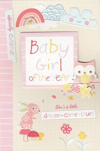 Baby Card Girl Owl Bunny