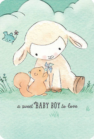 Baby Card Boy Lamb & Squirrel
