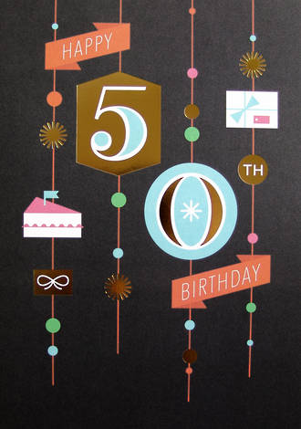 Jumbo Card Hallmark Colossal 50th Birthday Black