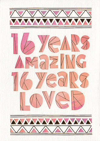 Birthday Age Card 16 Female Amazing