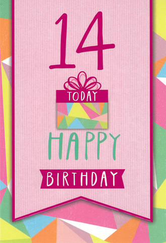 Age Card 14 Female Teen Gift