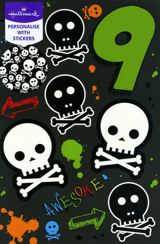 Birthday Age Card 9 Boy Skulls