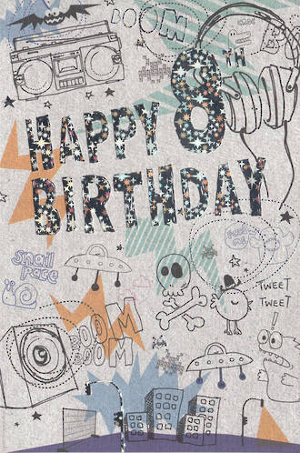 Birthday Age Card 8 Boy Grafitti