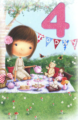 Birthday Age Card 4 Girl Picnic
