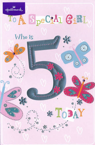 Birthday Age Card 5 Girl Pink Butterflies