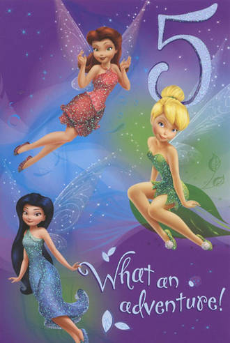 Birthday Age Card 5 Girl Disney Fairies