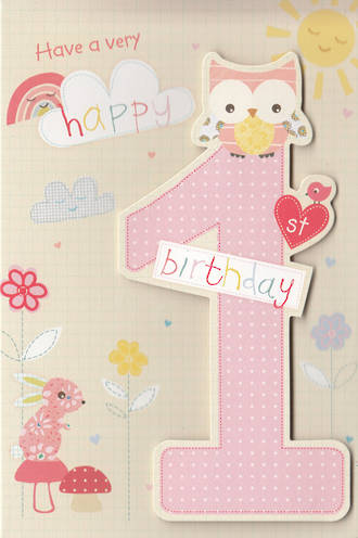 First Birthday Age Card 1 Girl Owl