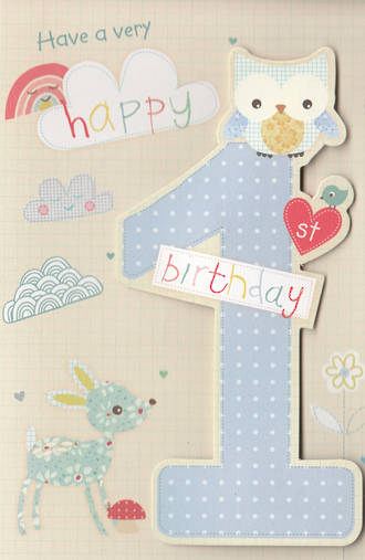 First Birthday Age Card 1 Boy Owl