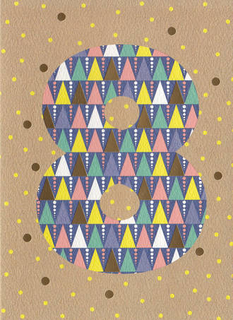 Birthday Age Card 8 Girl Geometric