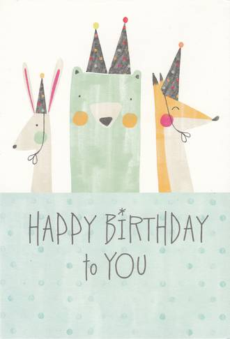 Hallmark Kids' Birthday Card: Animals With Hats