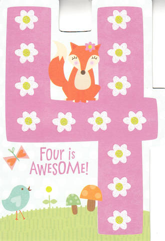 Age Card 4 Girl Awesome Fox