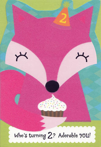 Birthday Age Card 2 Girl Pink Fox