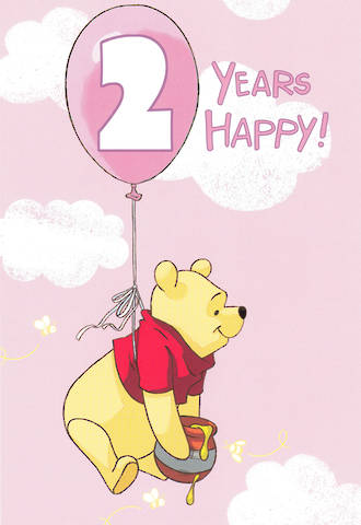 Birthday Age Card 2 Girl Winnie the Pooh Pink