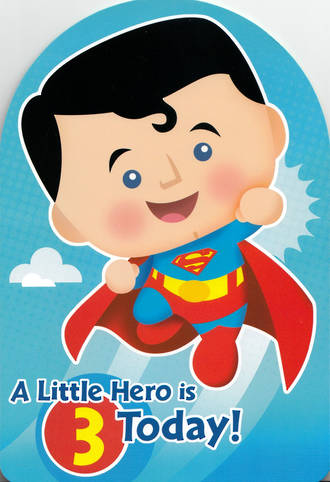 Birthday Age Card 3 Boy Little Hero