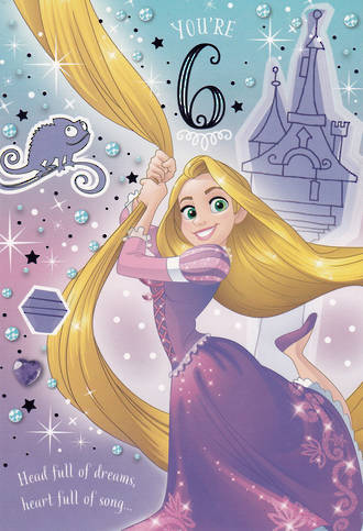 Birthday Age Card 6 Girl Tangled