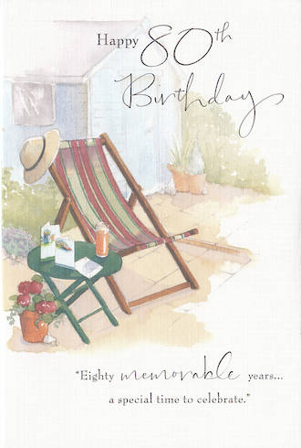 Birthday Age Card 80 Male Deck Chair