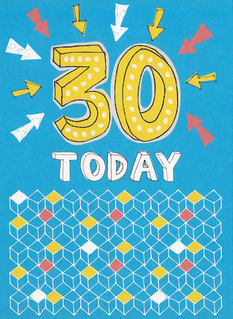 Birthday Age Card 30 Male Today