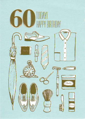 Age Card 60 Male Birthday Vintage Dressing