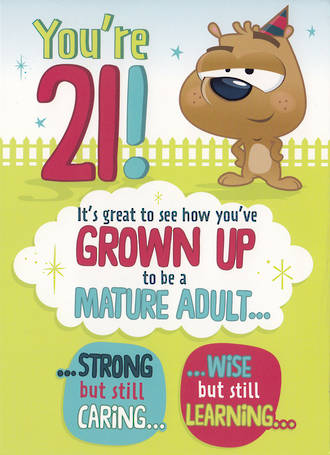 Age Card 21 Male Birthday Mature