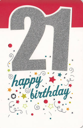 Birthday Age Card 21 Male Glitter
