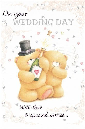 Wedding Card Hallmark Bears Champagne