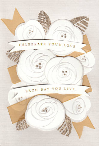Wedding Card Hallmark White Flowers Popup