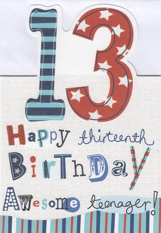 Birthday Age Card 13 Male Kids Stuff